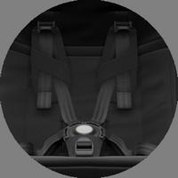 5-точечные ремни безопасности с мягкими накладками, регулируются по высоте
